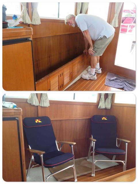 Al removes the bench and cushions and uses the deck chairs to test his idea for future seating.