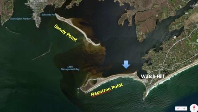 Satellite view of waters around Napatree, Sandy Point, and Watch Hill. ~ The blue arrow points to our general anchor location.