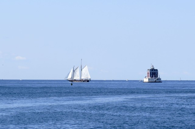 Ledge Light and a beautiful schooner - what a setting for a boat christening!