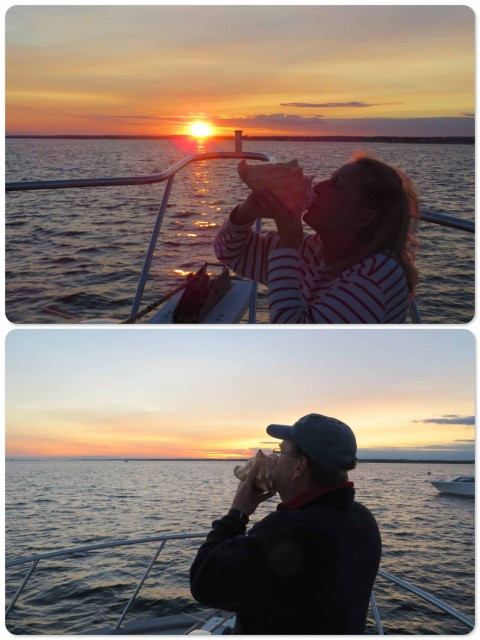 Every evening, as the sun set, we sounded the conch horn. I'm still working on my technique. Dean, of course, picked it up immediately. Former band member!