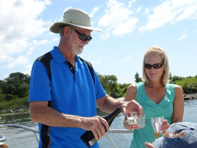 Bubbly beverages for the witnesses as well as for the boat!