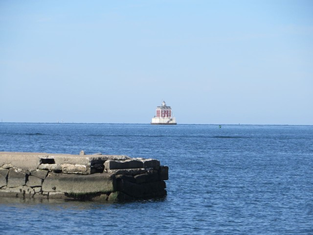 Our view of Ledge Light, the entrance to the Thames River.