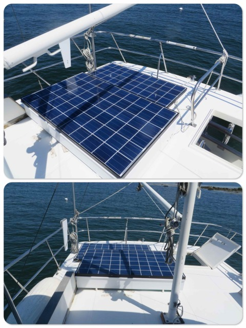 Solar installed ont eh flybridge - plenty of room!