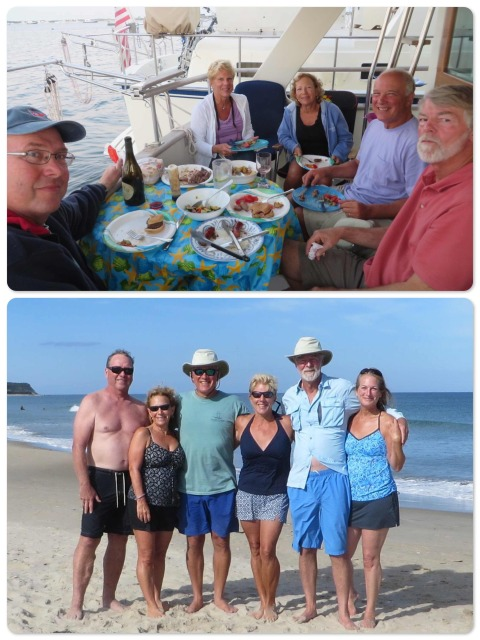 ~Dinner on the aft deck of Kindred Spirit  ~ a beautiful day at the beach - Dean, MJ, Greg, LeeAnn, Al and Michele