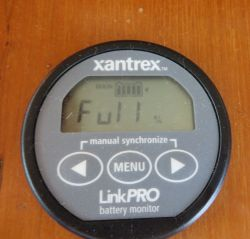 "The Xantrex monitor reads ""FULL.""  Free power form the sun -  you gotta love it!"