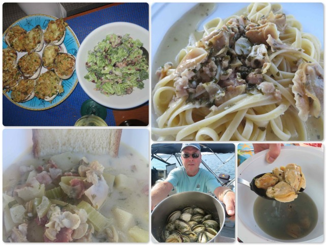Dean is the expert shucker and chef when it comes to seafood. Lucky us -- Three dinners! Stuffed clams, Pasta Al-Deano, and clam chowder.