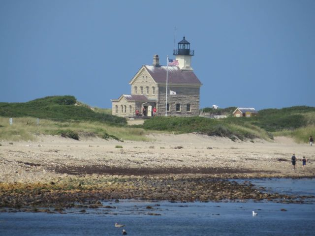 Block Island North Light, now a museum. After the 5 mile bike ride, we walked another half mile to it.
