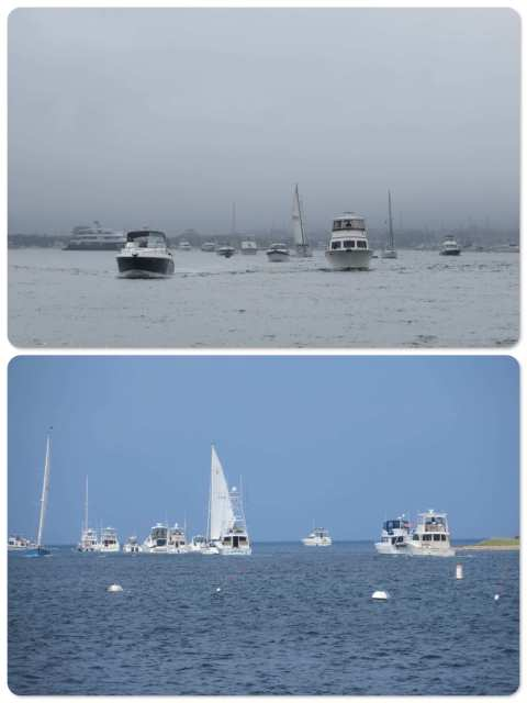 Labor Day Rush Hour - a little foggy as we entered the channel and then the sky brightened as we looked back after entering Salt pond.