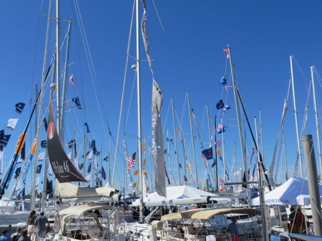 This is one of my favorite views of the Newport Boat Show - flags decorating masts and flying in the breeze.