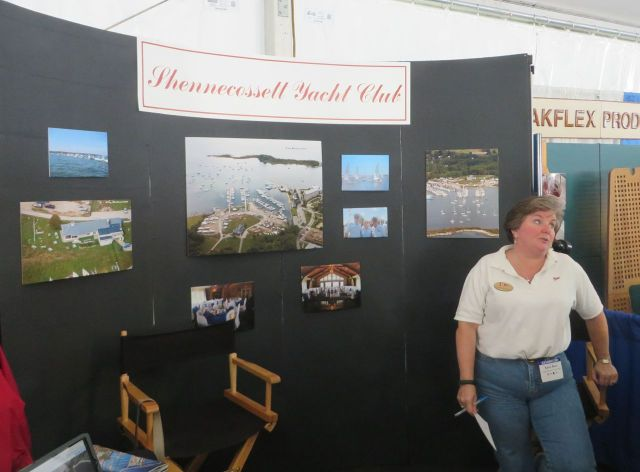 "SYC Membership Booth – Shennecossett Yacht Club has a booth at the boat show. We ""worked"" it for two hours and enjoyed Karen's company very much. She does an amazing job putting this all together."
