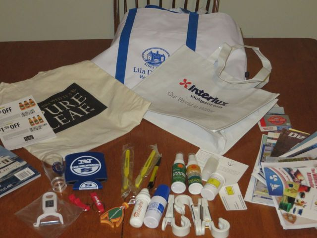 All the Boat show goodies and give-aways. Even if you don't need them, they are fun to collect.