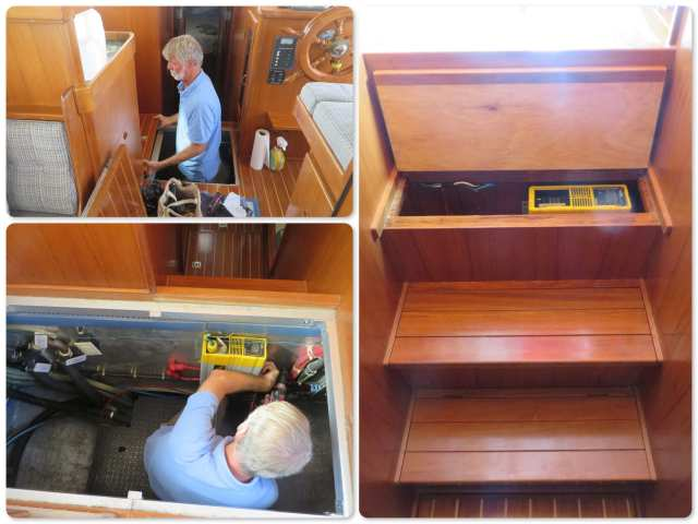 The inverter was located under the floor - VERY heavy to lift when you want to turn it on. Didn't make much sense, to say the least. AL moved it to inside the steps down to the cabin. Just lift the top up and flip the switch!
