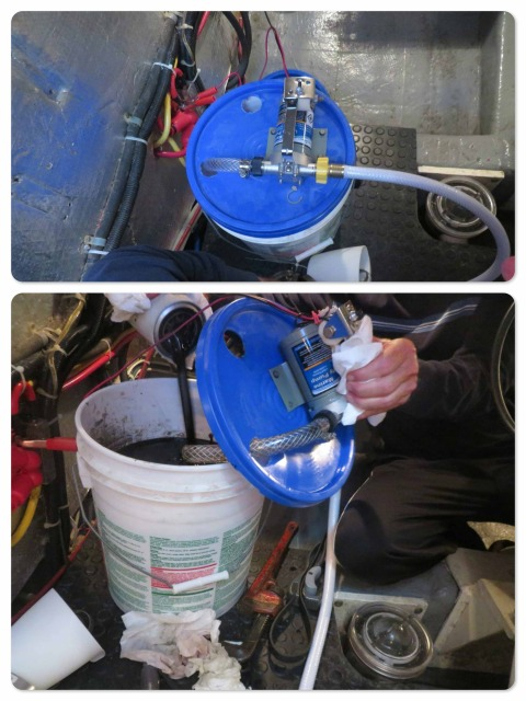 "Oil changing time– Al's nifty oil changing bucket. On the sailboat, he used a ""pump boy"" to change the oil. This Cummins 220 holds a lot more oil than the Yanmar 44 so the pump boy is too small for the job. Instead of buying an expensive oil changing device, Al made one out of 5 gallon bucket. Works just as well!"