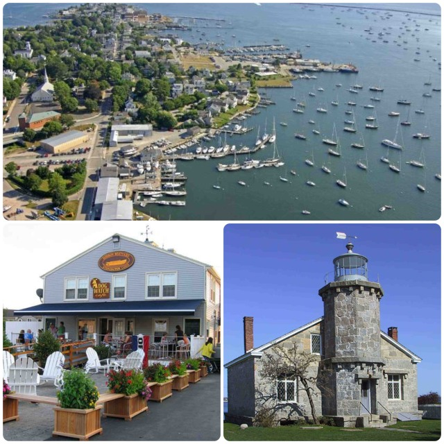 ~An aerial view of the Stonington harbor ~ The DogWatch Cafe, a great restaurant at Dodsons Boatyard. ~ Stonington Harbor Light, built in 1840, now a museum.