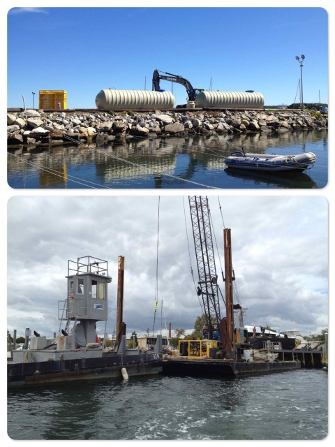 ~ The new fuel tanks before they are placed underground. ~ The crane and barge are ready to do the heavy lifting.