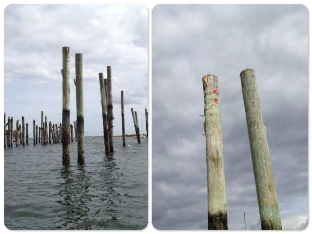 D Dock looks a bit odd with out the docks and finger piers. This was our piling with the red reflectors.