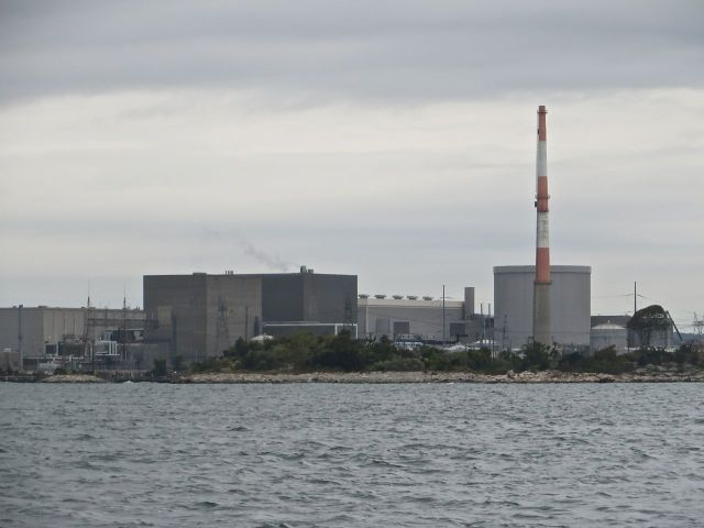 "We passed the Millstone Nuclear Power Station. Not the prettiest sight, but a ""landmark"" along the route."