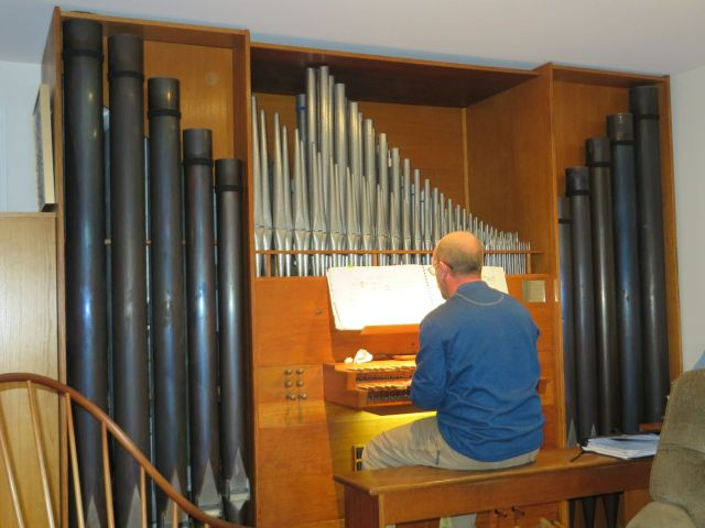 Indoor delights as well as outdoor fun. Peter plays his pipe organ for us. Yes, he built this into the house.