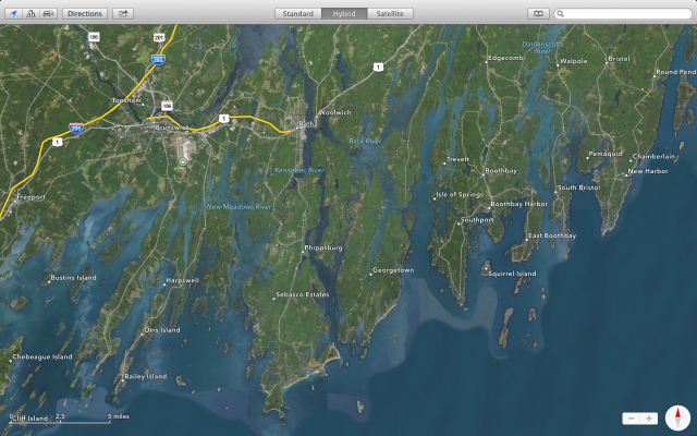 A satellite view (courtesy of the internet) of this region in Maine. A puzzle of bays, rivers, peninsulas and islands.