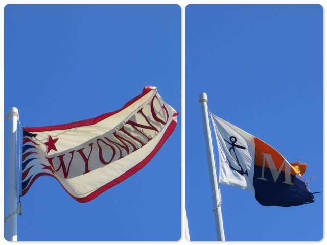 Each flag represents something. These two are the Wyoming itself and the Maritime Museum.
