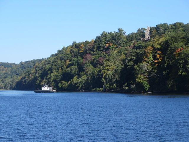 The Chester Ferry is one way to reach Gillette Castle (sitting high above the water). The ferry began operations in 1769 and is one of the oldest continuously running ferries on the Connecticut River.