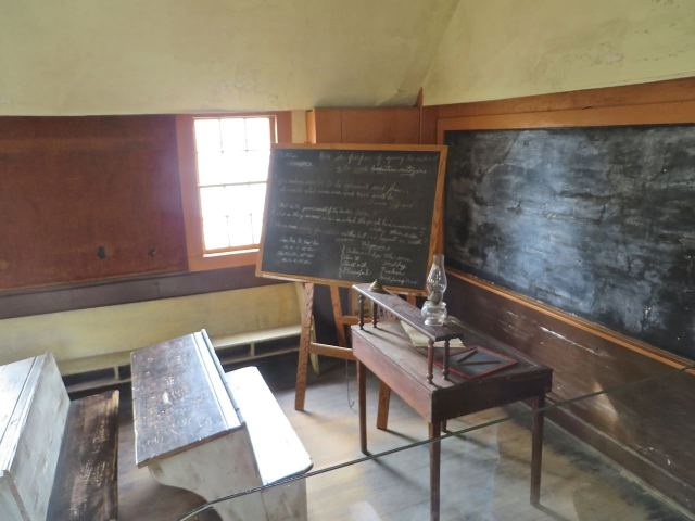 I had to take a photo of the old school house - how can a retired educator resit that?  We have agnatic school bench just like this in our basement.