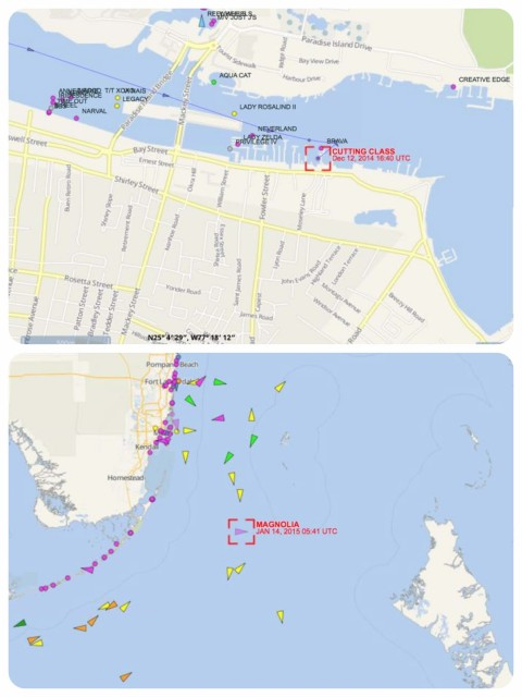 AIS on Marine Traffic and Vessel Finder websites.