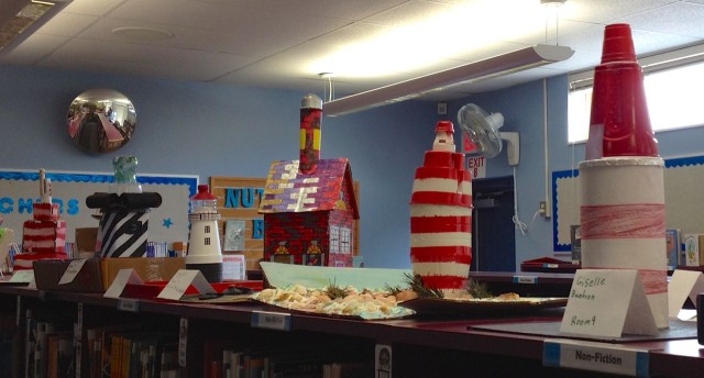 I was passing by the library when the red and white stripes caught my eye - memories of the Elbow Cay Lighthouse!