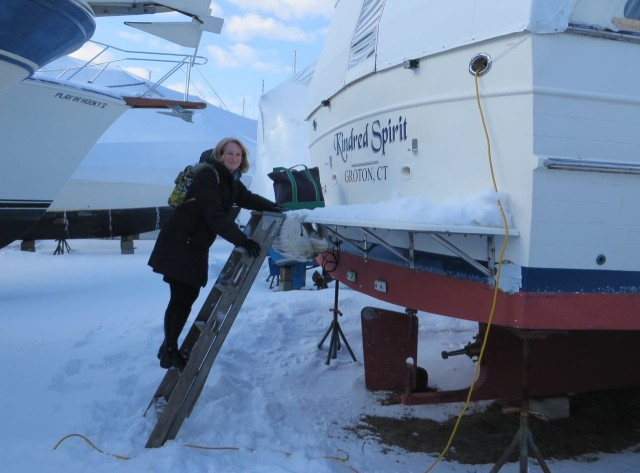 "I don't usually ""visit"" the boat during the winter, but I wanted to check some measurements. I can't believe Al does this on a regular basis!! It's cold!!"