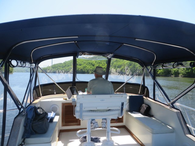 The flybridge is a great place for this trip down the river - what a view up here.