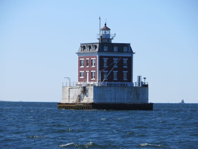 The sight of Ledge Light welcomes us back.