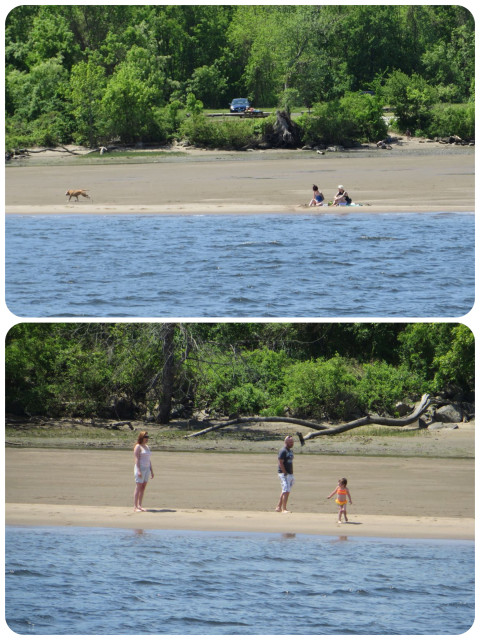 As the day warmed up, we saw people taking advantage of the low tide to enjoy this temporary river beach.
