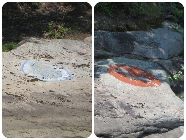 I photographed and commented on these rock paintings during our trip up the river last fall, but this time we were closer and I got a better photo. I still don't know what they are.