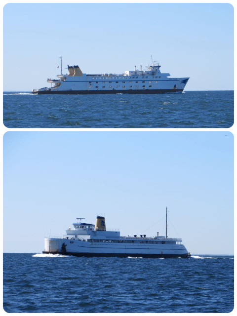 We know we are close to our homeport when the ferries are coming and going out of New London Harbor.