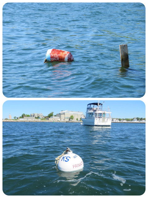 Before and After: winter stick with buoy marker to mooring ball.