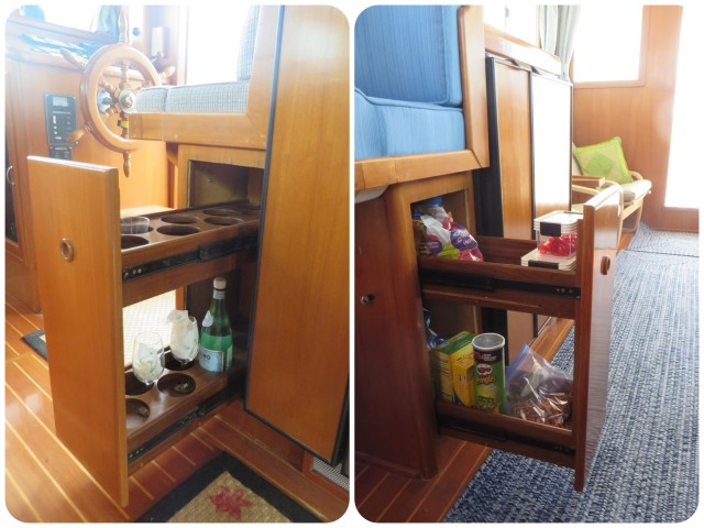 "Left pic - the ""liquor cabinet"" as originally intended. Right pic - Now pantry storage. I am not sure exactly what will end up in here. Just trying out different things, maybe staples, maybe snacks."