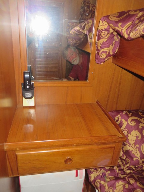 This is the mirror in the guest cabin. That wall backs on the galley.