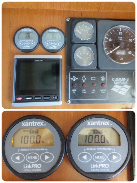 The two circular xantrex meters on the helm dashboard.