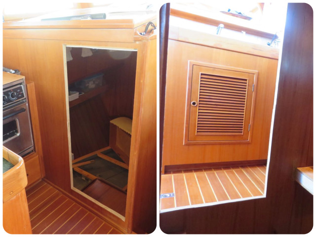 The opening -  The left picture is looking from the galley and the right picture is looking out from the guest cabin.
