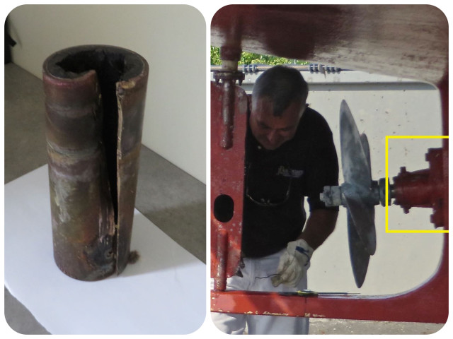 On the left is the cutlass bearing after removal. On the right is a picture of it on the boat at the time of the survey.