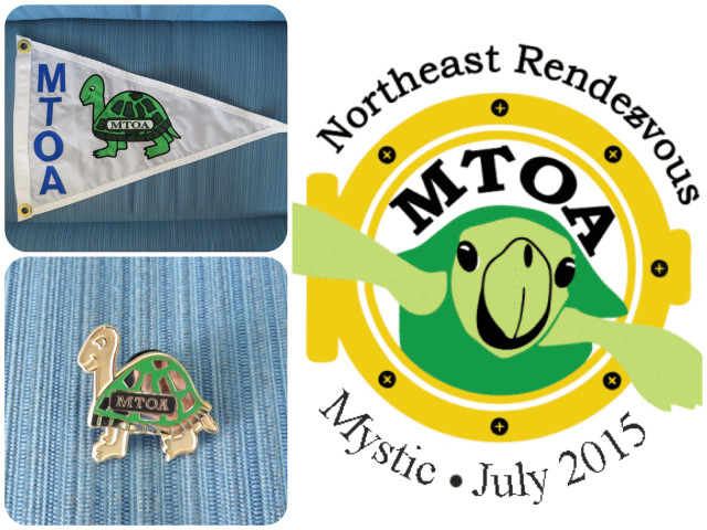 Turtles everywhere!  Our new MTOA burgee, one of the MTOA pins, and the logo for the Northeast Rendezvous in mystic this summer. Turtles everywhere!