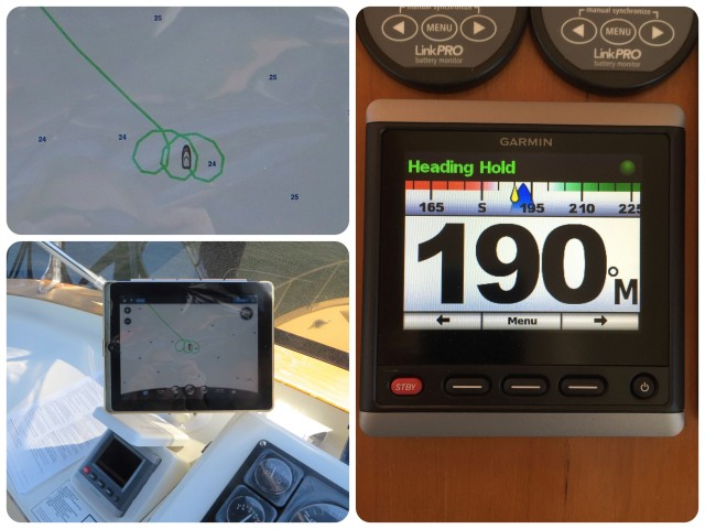 Calibrating the autopilot required that we steer the boat in a 360 degree circle, three times.