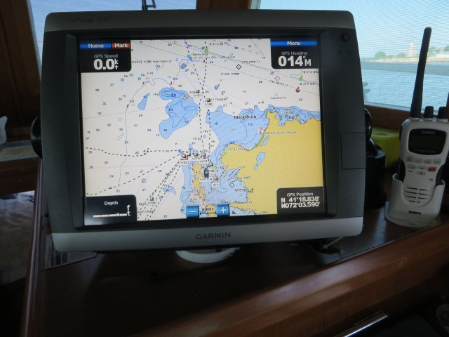 Garmin 5012 shows us on our mooring just off of Avery Point in Groton.