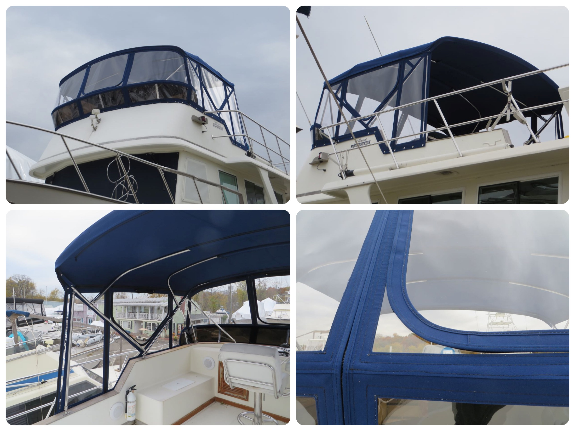 The finished bimini! Excellent workmanship - we are quite pleased with it.