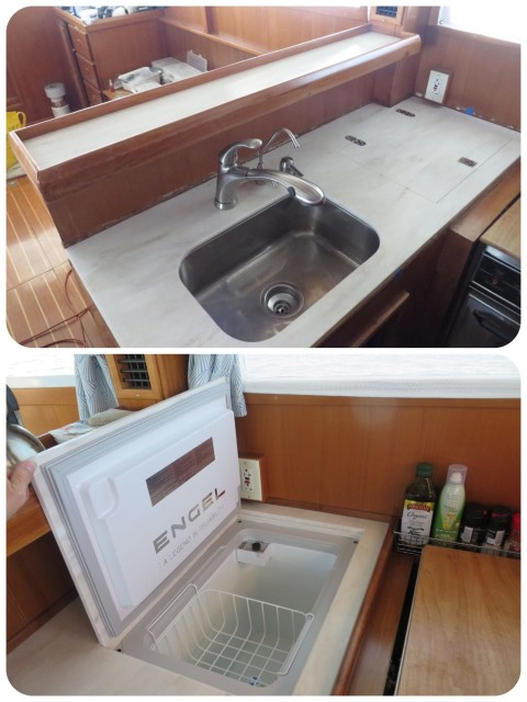 ABOVE - The new Corian galley counter with a new faucet, filtered water faucet, and soap dispenser. The existing sink was re-used but mounted underneath. BELOW - The new Engel freezer