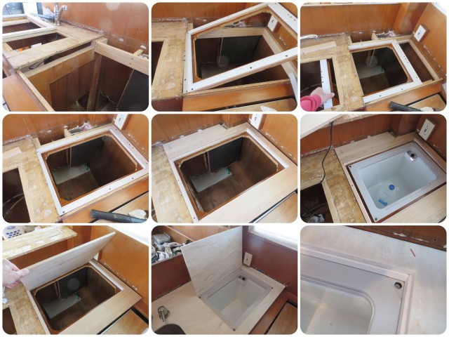 Collage of building the counter and fitting in the freezer unit with insulated lid. The freezer lid required very careful planning and fitting.