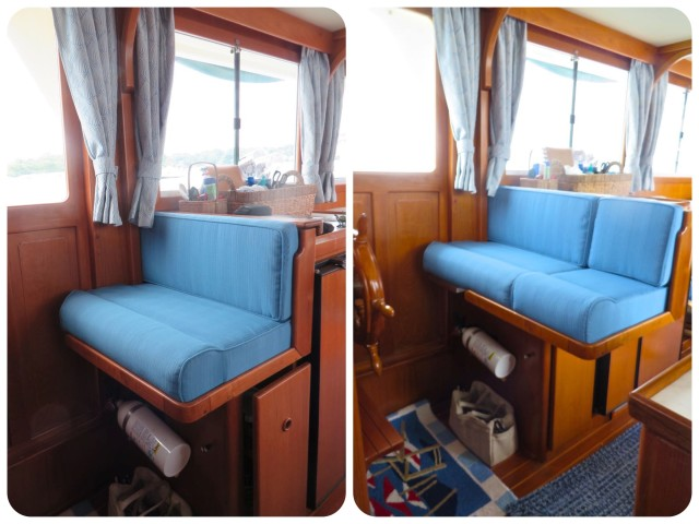 With the cushions in place.  LEFT - single RIGHT - double It works - we can both sit very comfortably here.