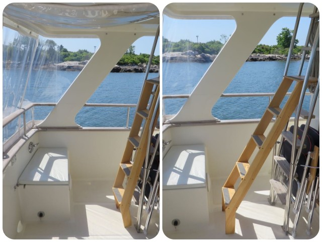 Left - The prototype ladder set in against the stainless ladder. Right - The prototype ladder stepped out for using.