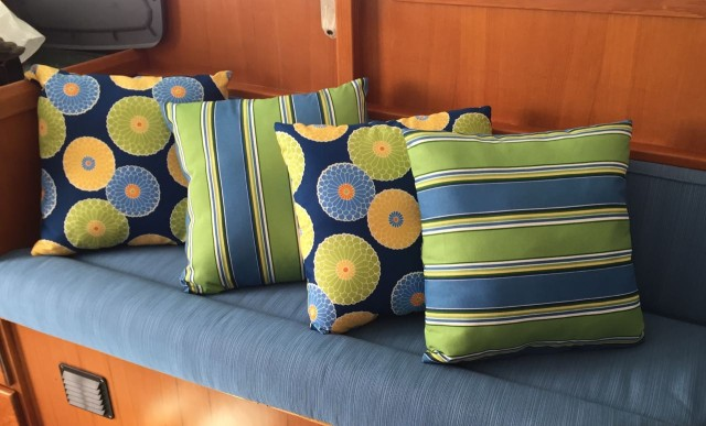The pillows are bright and bold.