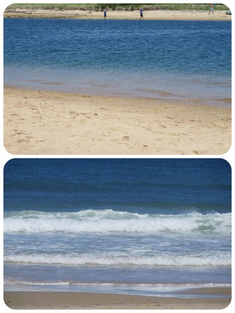 Block Island waters -- Above is Coast Guard Beach, a great place to watch boats come in and out of the Salt Pond. Below - Scotch Beach - one of the nicest beaches around.